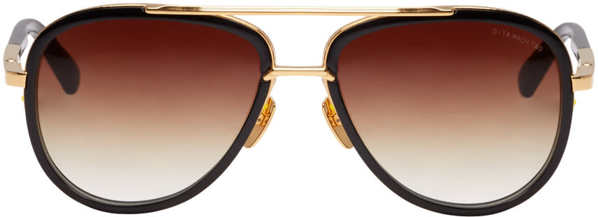 Image of Dita Black and Gold Mach-two Aviator Sunglasses