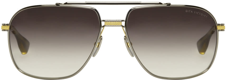 Dita Gunmetal Gold-plated Victoire Aviator Sunglasses