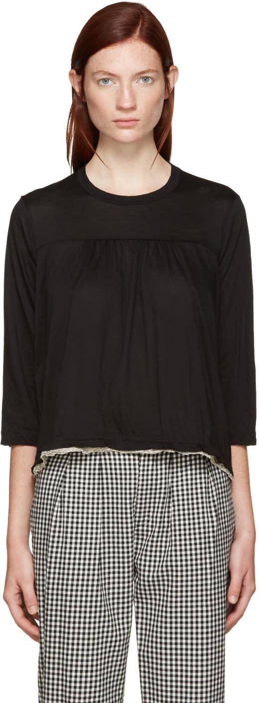 Tricot Comme Des Garcons Black Lace Trim T-shirt