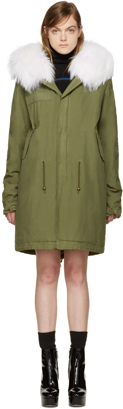 Mr and Mrs Italy Green Fur Collar Parka