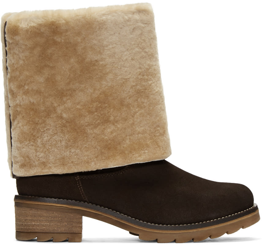 Mr and Mrs Italy Brown Suede Shearling Boots