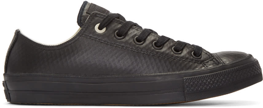 Converse Black Leather Chuck Taylor All Star Ii Ox Sneakers