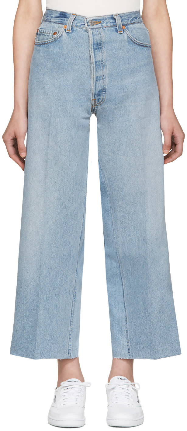 Re-done Blue Wide-leg Cropped Jeans