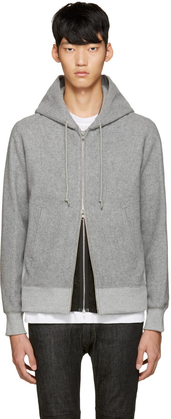 Ganryu Grey Melton Wool Hoodie