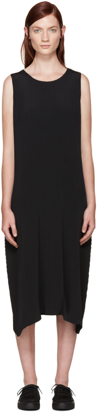 Issey Miyake Black Pleated Solid Earth Dress