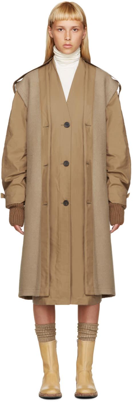 Nehera Tan Layered Trench Coat