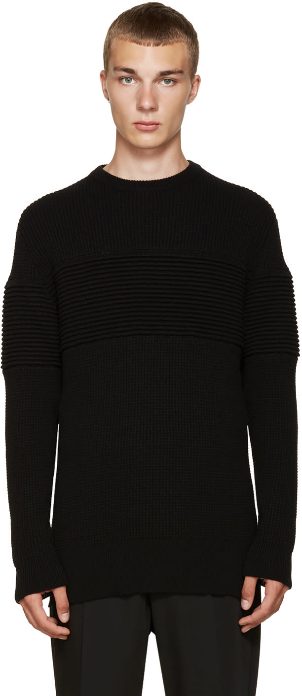 Image of Curieux Black Cashmere Ripple Panel Pullover