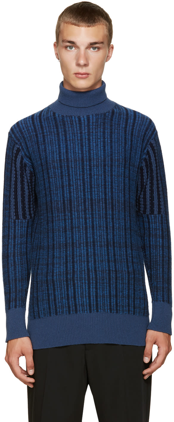 Curieux Ssense Exclusive Blue Cashmere Turtleneck