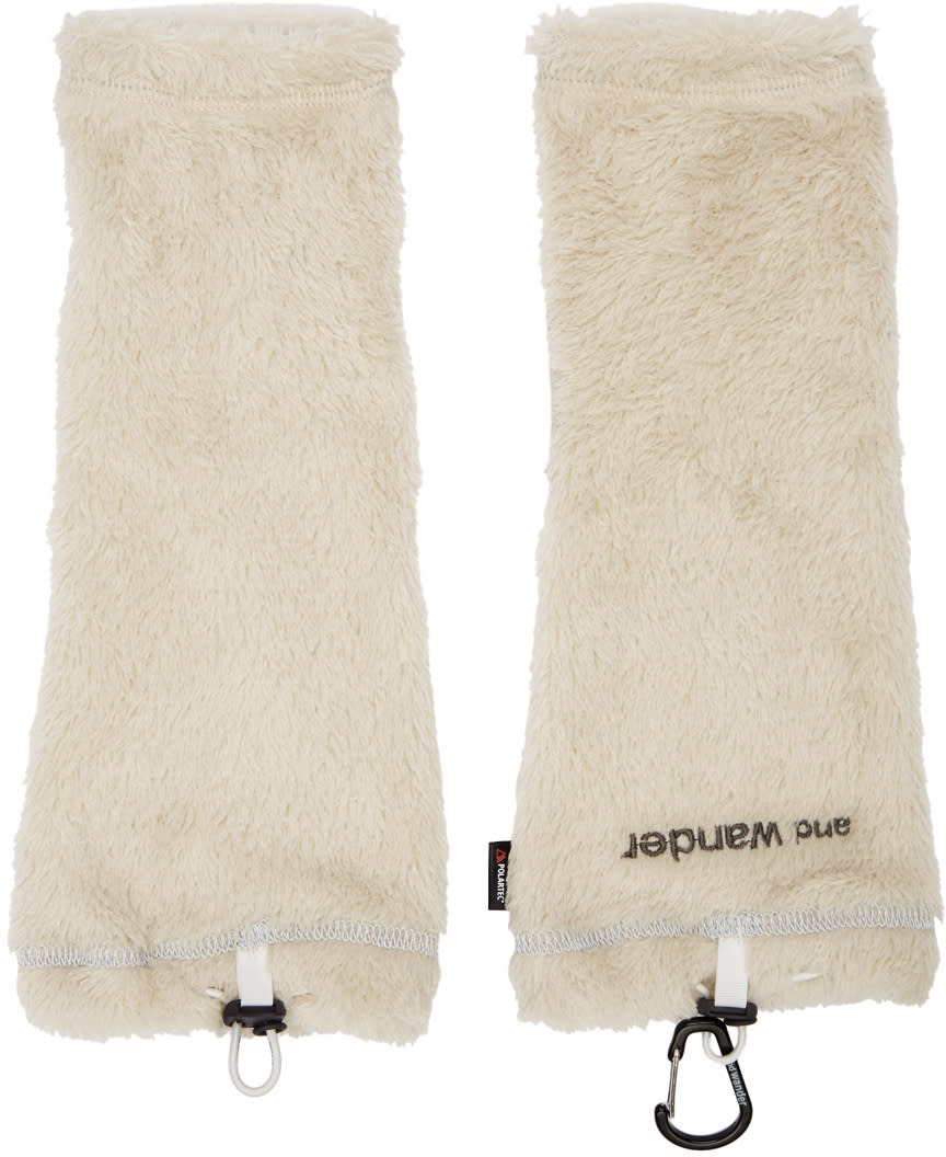 And Wander Off-white Fleece Arm Warmers