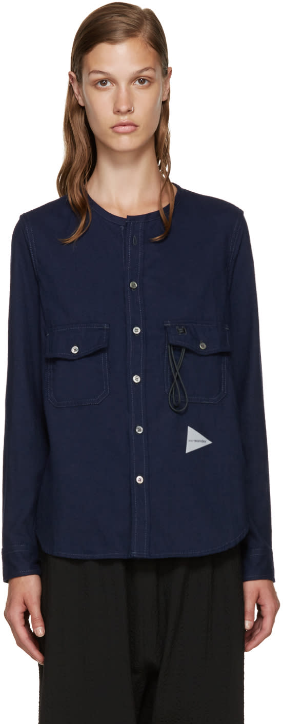 And Wander Navy Flannel Shirt