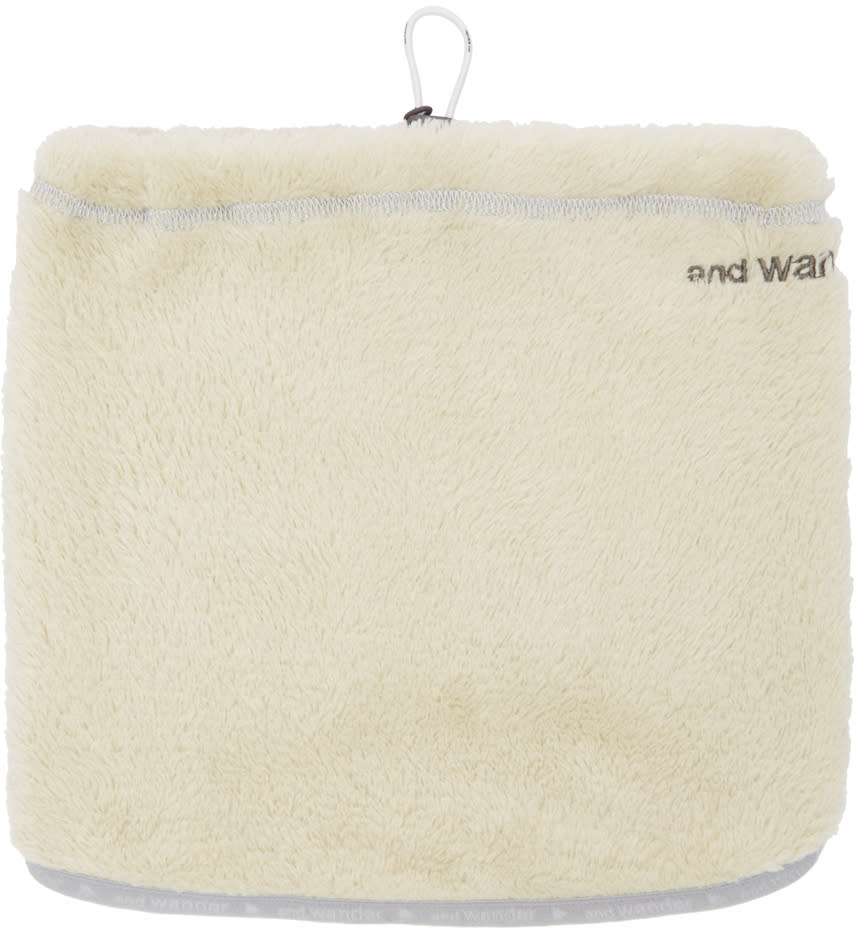 And Wander Off-white Fleece Neck Warmer