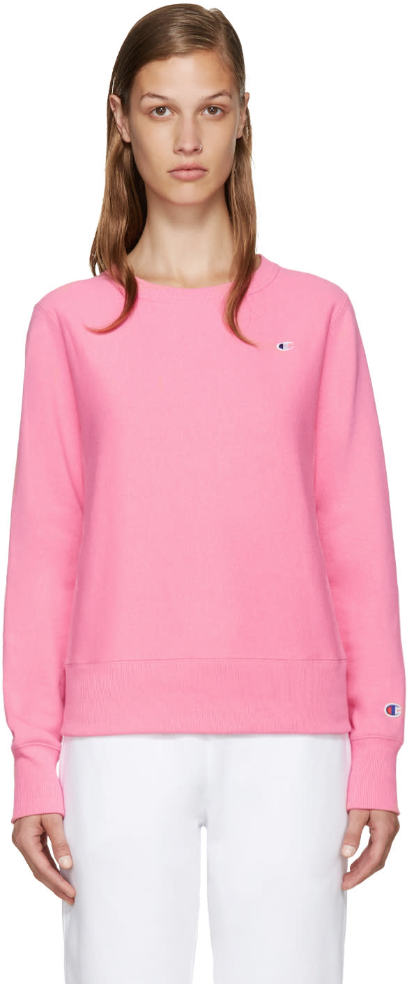 Champion Reverse Weave Pink Small Logo Pullover