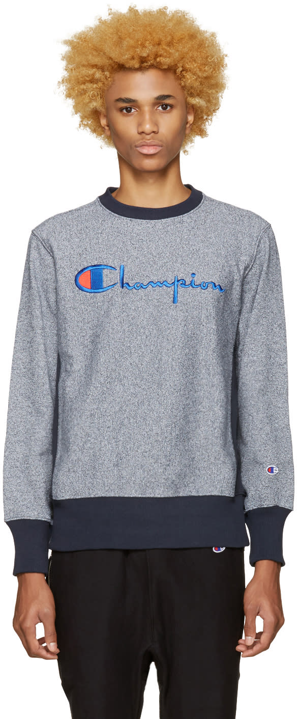 Champion Reverse Weave Navy Speckled Logo Pullover