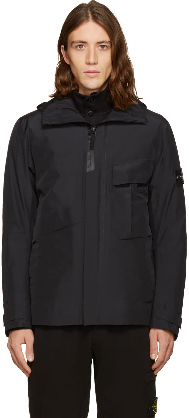 Stone Island Black Bloson Hooded Jacket