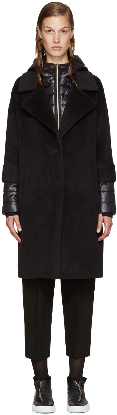 Herno Black Wool Quilted Coat