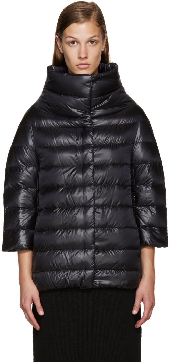 Herno Black Nylon Cocoon Down Jacket