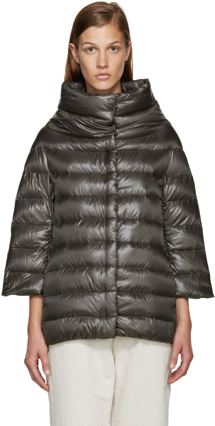 Herno Grey Nylon Cocoon Down Jacket