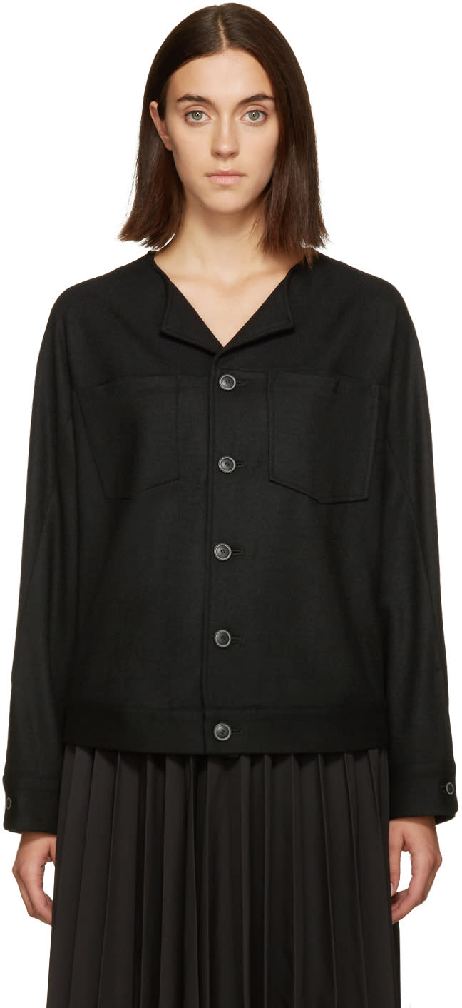 Nocturne 22 Black Wool Button Jacket