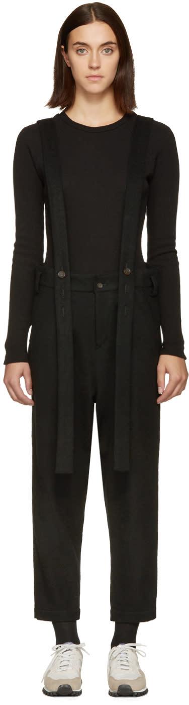 Nocturne 22 Black Wool Suspender Overalls