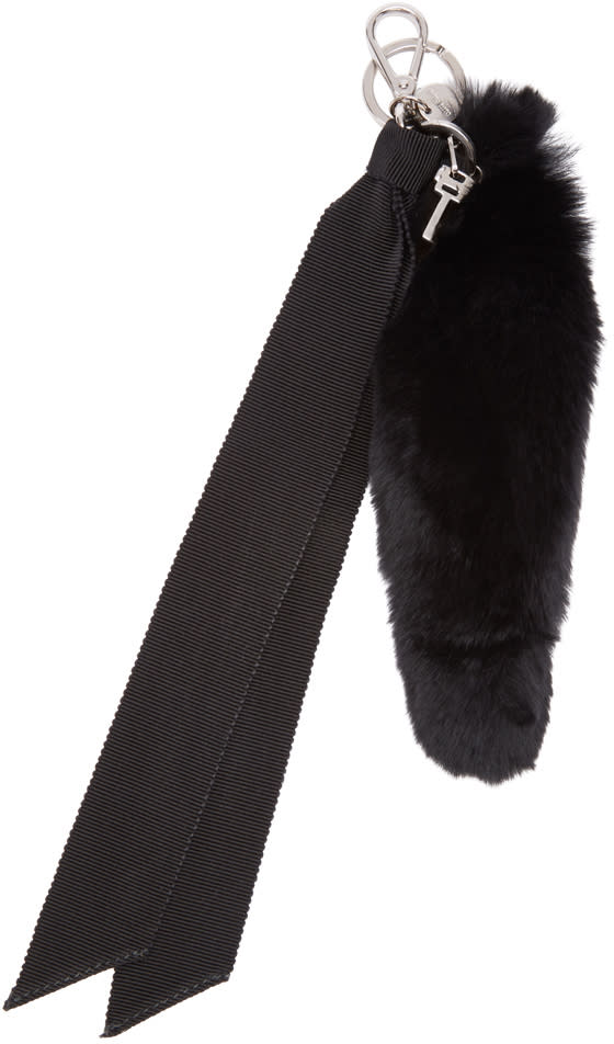 Miu Miu Black Rabbit Fur Keychain