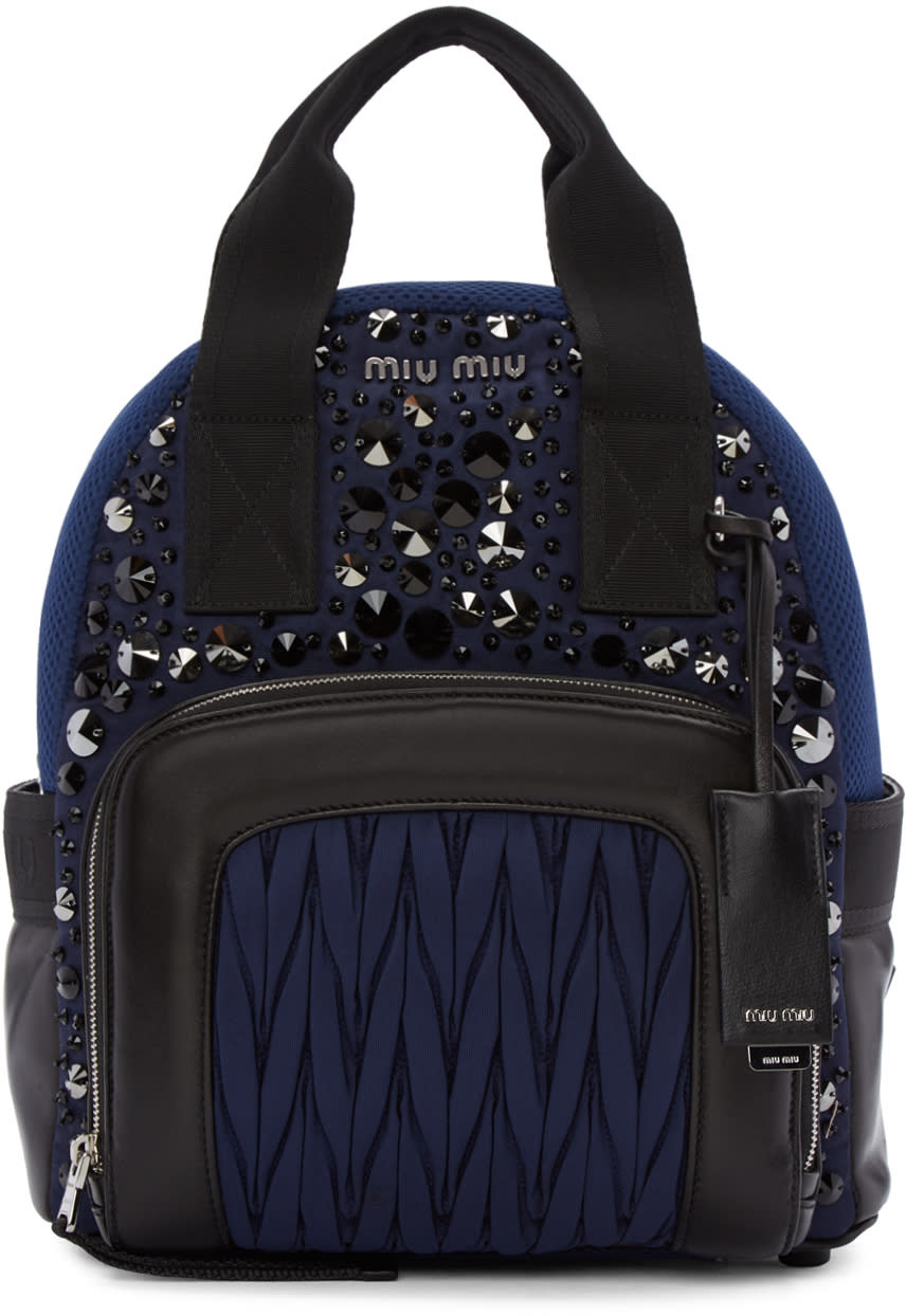 Miu Miu Blue Nylon Matelasse Backpack