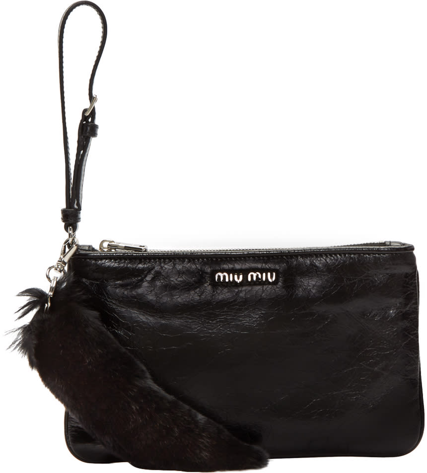 Miu Miu Black Leather and Fur Pouch