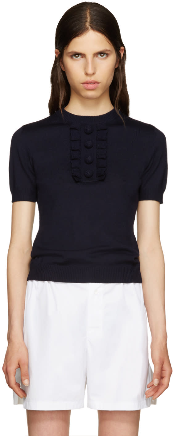Miu Miu Navy Ruffled Trim Sweater