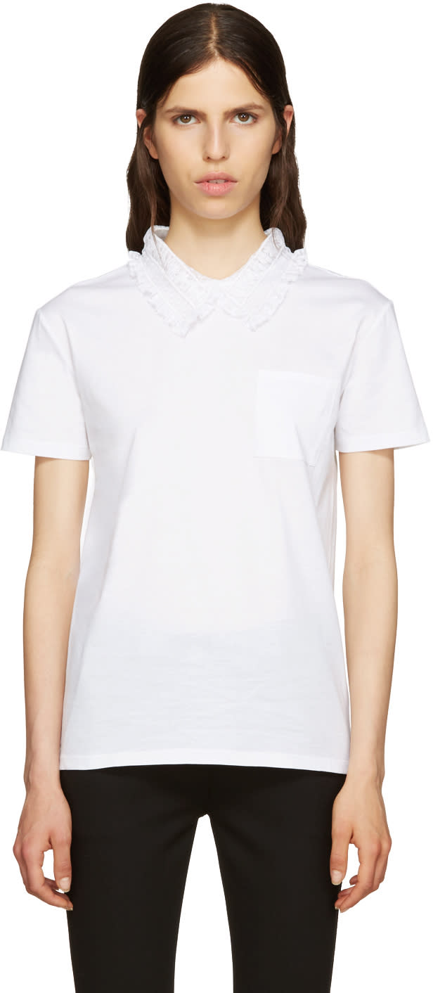 Miu Miu White Lace Collar T-shirt