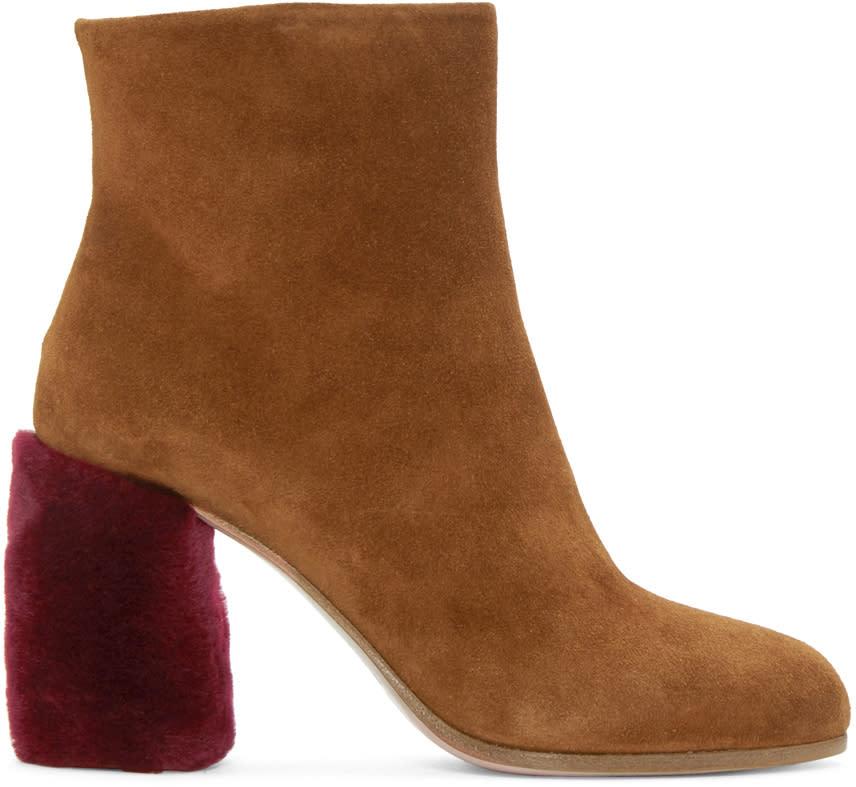 Miu Miu Tan Suede and Shearling Boots