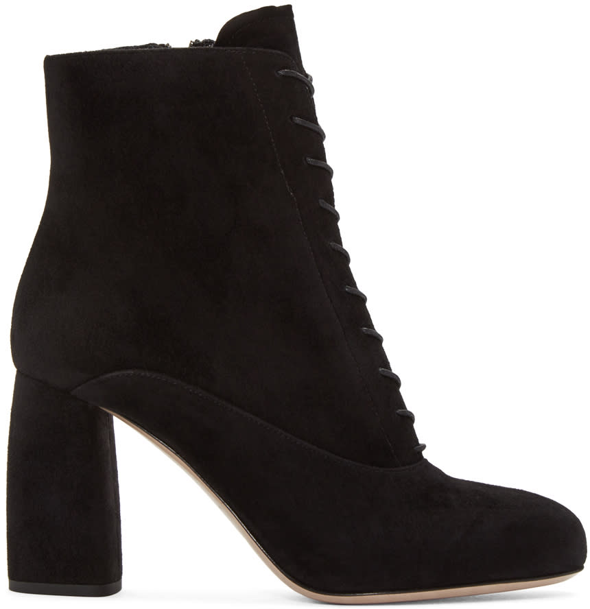Miu Miu Black Suede Lace-up Boots