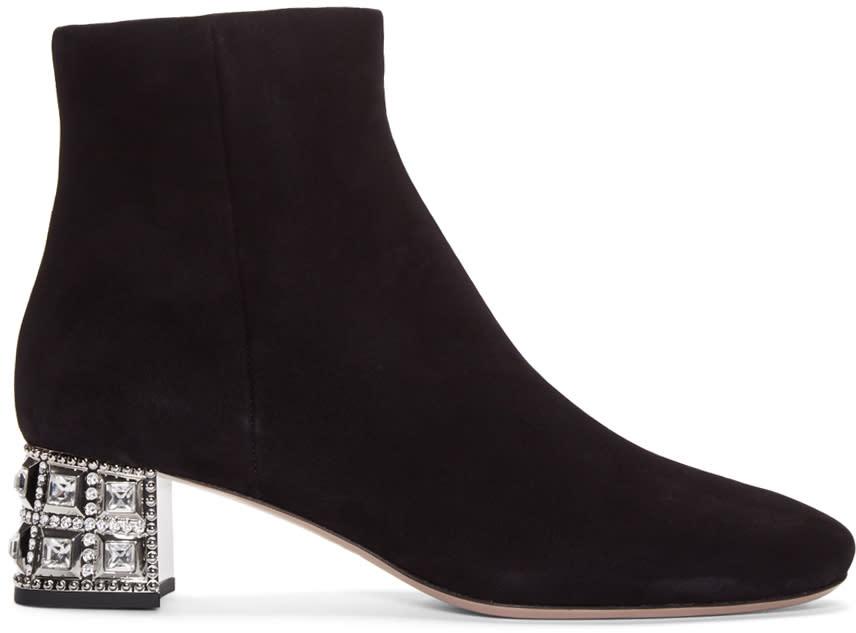 Miu Miu Black Crystal Heel Boots