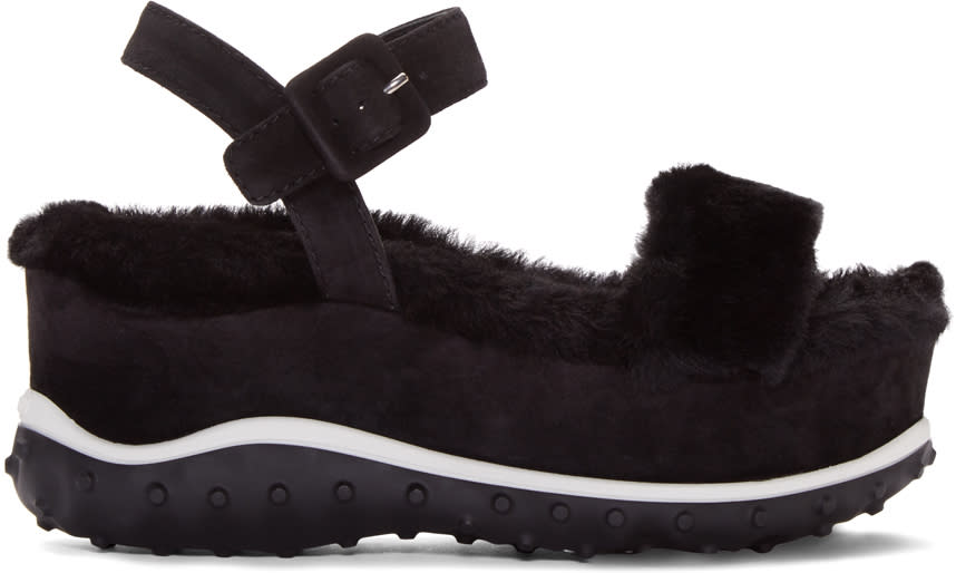 Miu Miu Black Shearling Wedge Sandals