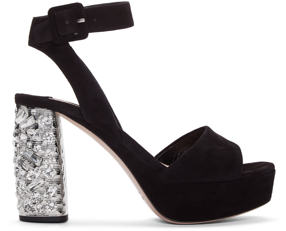 Miu Miu Black Suede and Crystal Sandals