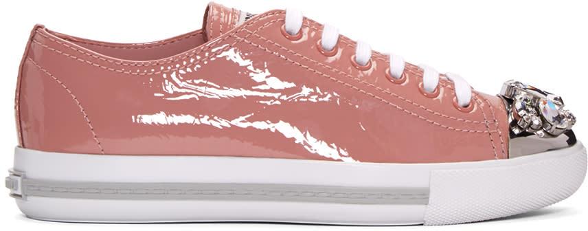 Miu Miu Pink Patent Crystal Sneakers