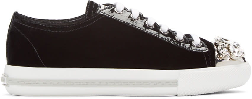 Miu Miu Black Crystal and Velvet Sneakers