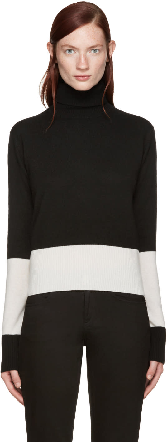 Wendelborn Black and Ivory Colorblocked Turtleneck