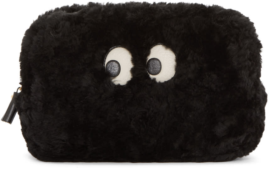 Anya Hindmarch Black Shearling Ghost Pouch