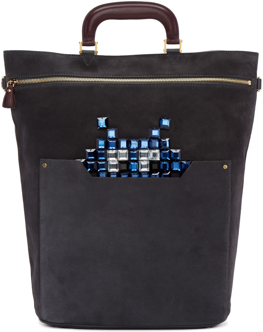 Anya Hindmarch Grey Small Orsett Space Invaders Bag