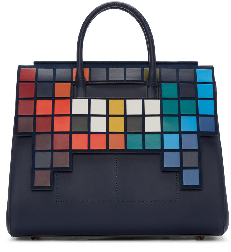 Anya Hindmarch Blue Medium Space Invaders Ephson Bag