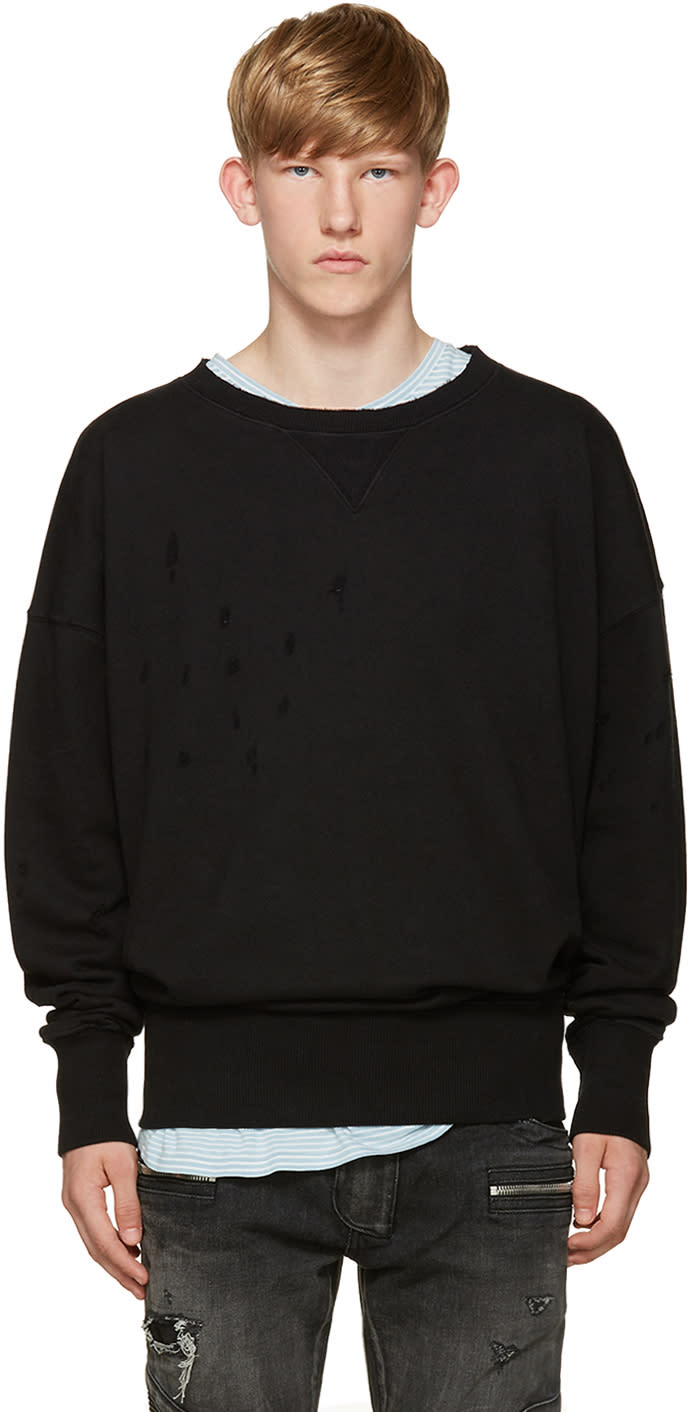 Faith Connexion Black Destroyed Sweatshirt