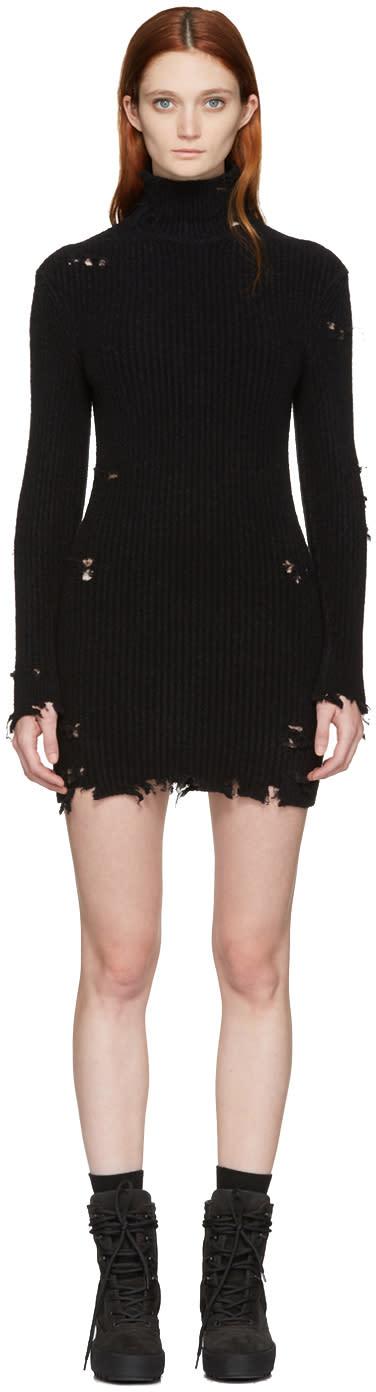 Yeezy Black Destroyed High Neck Boucle Dress