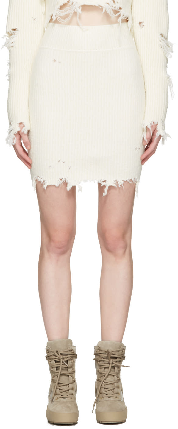 Yeezy Off-white Destroyed Boucle Miniskirt