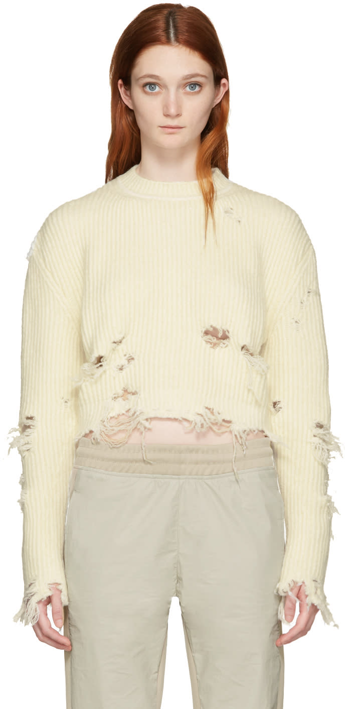 Yeezy Off-white Destroyed Cropped Boucle Sweater