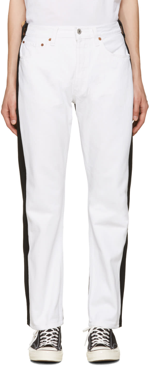 Bless White and Black Pleatfront Jeans