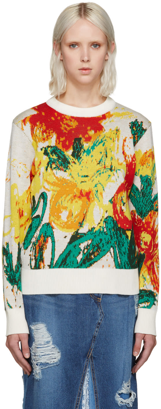 Writtenby Multicolor Floral Knit Sweater