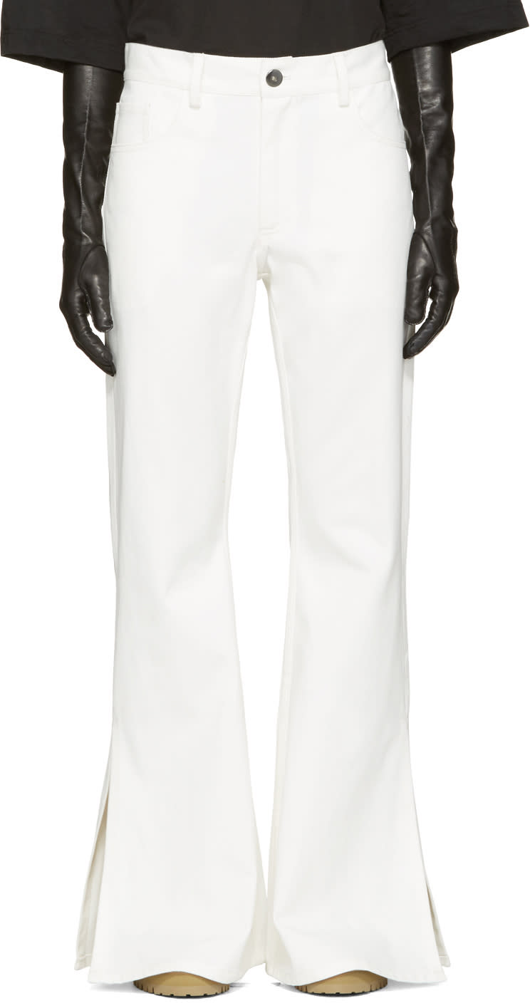 Matthew Adams Dolan White Flared Split Hem Jeans