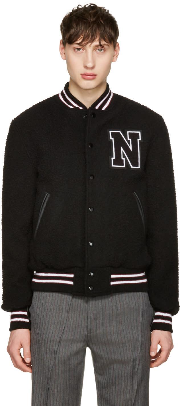 Noah Nyc Black Wool Teddy Varsity Bomber Jacket