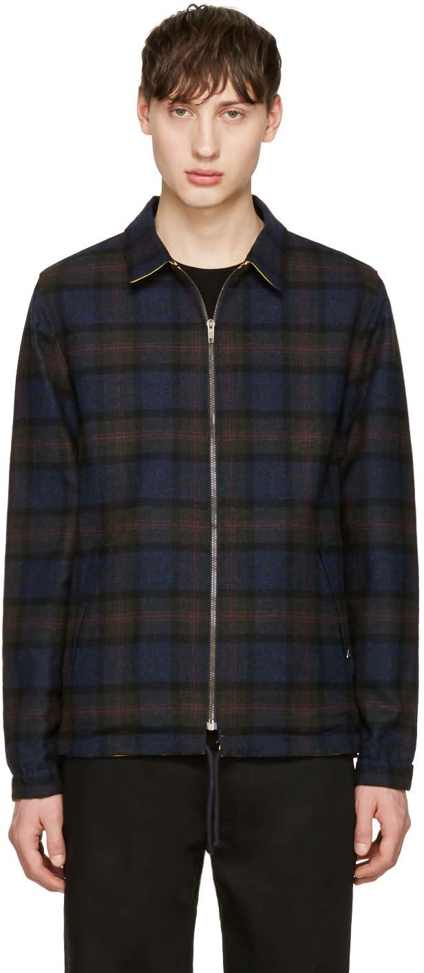 Noah Nyc Reversible Black Plaid Coaches Jacket