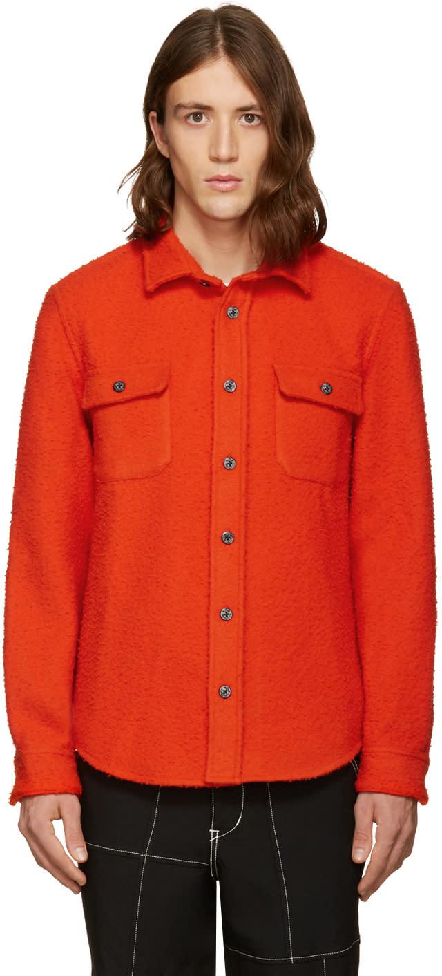 Noah Nyc Red Wool Teddy Shirt