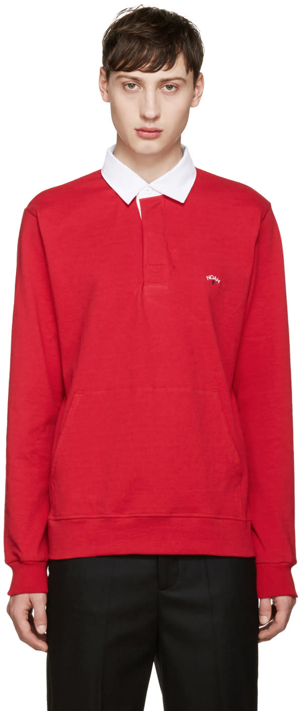 Noah Nyc Red Rugby Polo